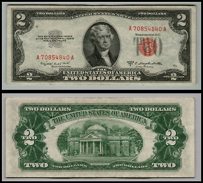 1953B $2 Dollar  Us Note Legal Tender Paper Money Currency Red Seal V919