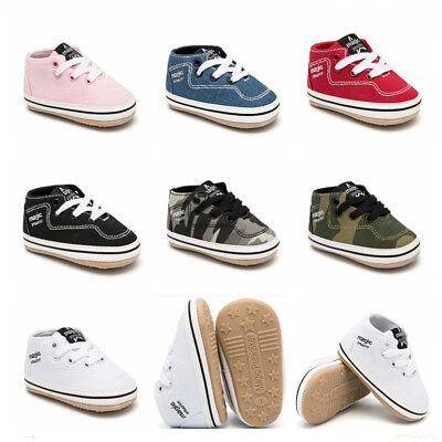 Newborn Baby Boy Girl Pram Shoes Child Rubber Soles Pre Walker Trainers Sneakers