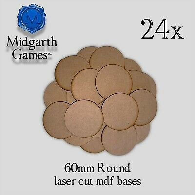 20 Round 60mm MDF Miniature Bases 3mm Laser-cut Warhammer FREE SHIPPING