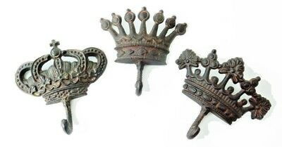 3 Metal Royal Crown Wall Hook Hangers Coats Hat Leash Keys Home Organization