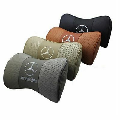 2x Leather Headrest Cushion Car Seat Pillows Neck Personalized for MERCEDES BENZ