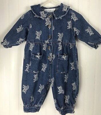 232e3c73d9e Vintage Standard Blues baby girl denim romper playsuit jumpsuit 3 months  Bears