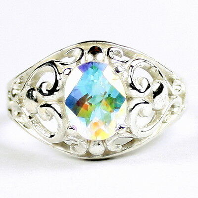 • SR111, 1.5 carat Mercury Mist Topaz, Sterling Silver Ladies Ring - Handmade