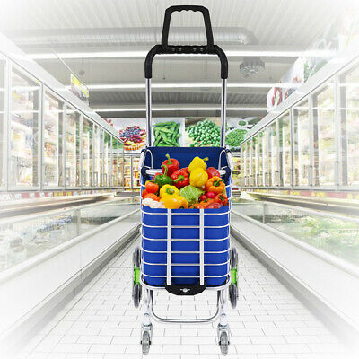 Folding Shopping Cart  Basket with 8 Wheels Oxford Cloth Bag for Laundry Travel