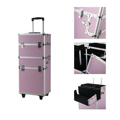 Pro 3in1 Makeup Hair Cosmetic Train Case w/Rolling Wheels Box Organizer Trolley