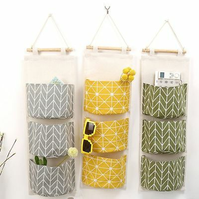 3 Pockets Wall Door Closet Home Hanging Storage Bag Linen Organizer Pouch Useful