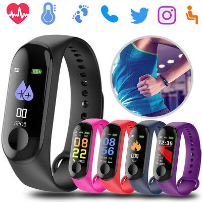 M3 Blood Pressure/Heart Rate Monitor Fitness Smart Watch Wrist Band Bracelet NEW