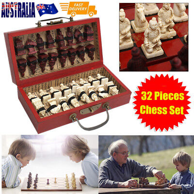 32PCS Chess Set Terra Cotta Warriors Figure Chinese Wood Leather Box Gifts AU