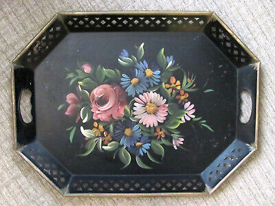 Vintage Beautiful Hand Painted Nashco Toleware Floral Tray Shabby Chic New York