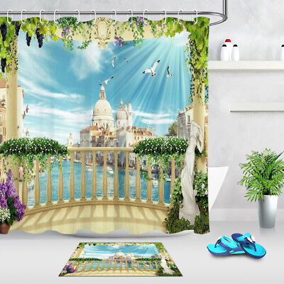 Balcony Water City Venice Shower Curtain Liner Bathroom Polyester Fabric Hooks