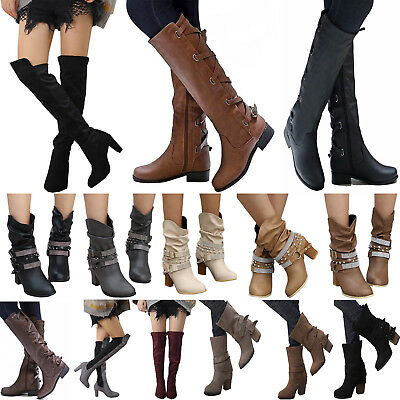 Womens Ladies Knee High Boots Winter Flats Buckle Zip Up Heels Shoes Size Casual