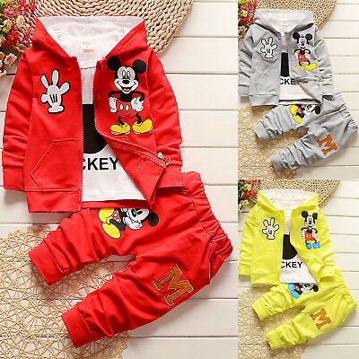 Kids Baby Boys Girls Casual Mickey Mouse Hooded Coat + T-shirt + Pants 3pcs Sets