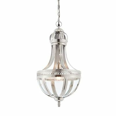 Vienna 1Lt Pendant Light Bright Nickel Plated On Solid Brass & Clear Glass 40W