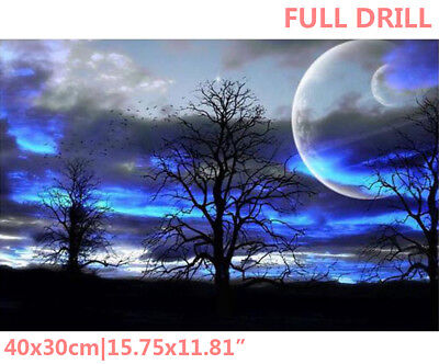 Full Drill Moon Trees Birds 5D Diamond Painting Embroidery Cross Stitch Kit WZ