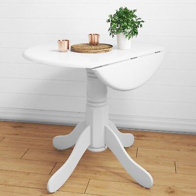 Round Drop Leaf 4 Seater Dining Table in White - 4 Seater