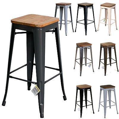 Metal Industrial Bar Stools Seat Chairs Breakfast Vintage Kitchen Cafe Rustic 2s