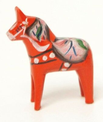 Vintage Swedish Dala Horse Red Hand Painted Wooden Dalecarlian Horse Hand Carved