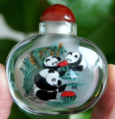 Chinese Collectible Handmade inside painted Panda glass snuff bottle