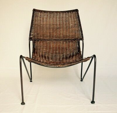 FREDERICK WEINBERG Fauteuil Rattan Lounge Chair Vintage Design MID Century 1950