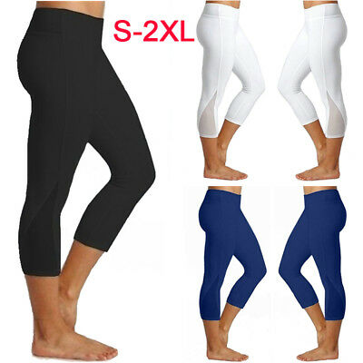 7fa21675a87df Womens 3/4 Leggings Active Wear Yoga Fitness Capri Cropped Pants Tummy  Control
