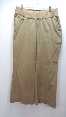 Old Navy Maternity Khaki Wide Leg Pants Stretch Long Low Rise Beige Belted L