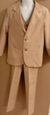 Vintage 1970's Sears & Roebuck Boys 3 Piece Suit Brown Tan Pants Vest Jacket