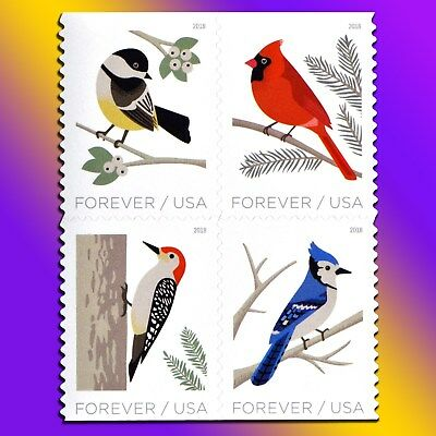 20 Snow Birds Forever Stamps Booklet Cardinal Woodpecker Blue Jay Winter