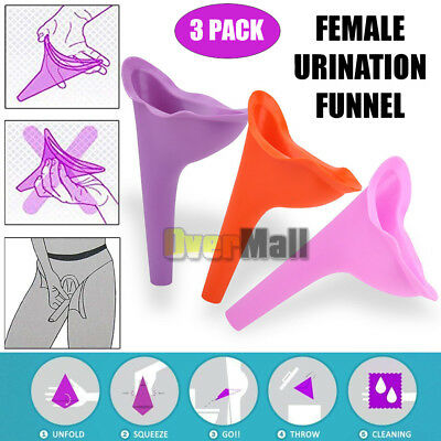 3 Women Female Portable Urinal Outdoor Travel Stand Up Pee Urination Device Case