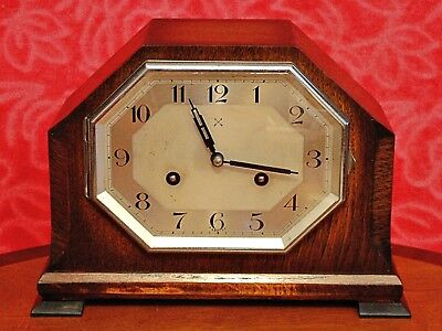 "Vintage German ""HAC"" Art Deco 8 Day Striking Mantel Clock"