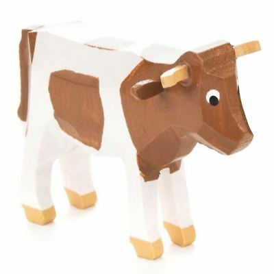 Mini Wooden Cow Hand Carved German Figurine  - Brown and White