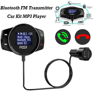 RS1 Wireless Bluetooth Handsfree Car Kit FM Transmitter USB Charger MP3 Player