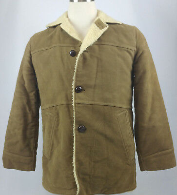 Vintage Airman Mens Barn Coat Size 36 Tan Suede Wool 1950s Small