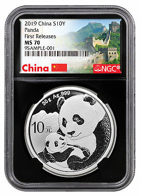 2019 China 30 g Silver Panda ¥10 NGC MS70 FR Black Great Wall SKU56058