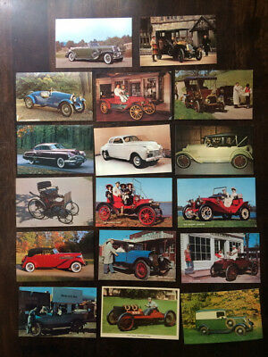 Old Fashion Cars Automobiles Lot of 17 Postcards