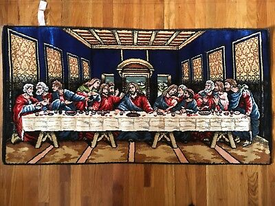 Vintage Tapestry Last Supper The Apostles Wall Hanging Made In Italy