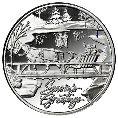 (2018) Christmas Horse and Sleigh 1 oz Silver Round Season's Greetings SKU56043