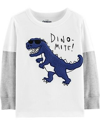 New OshKosh Boys Sherpa Dino Mite T-Rex Double Sleeve Top 3T 4T 5T
