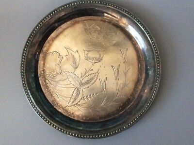 Antique James Tufts Boston Silver Salver / Victorian Aesthetic Platter / Tray