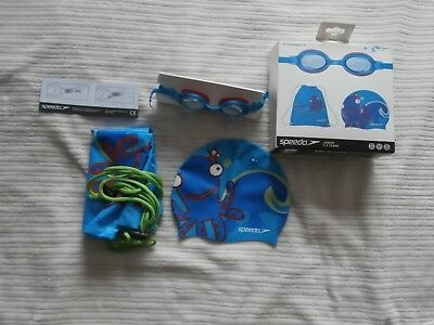 Speedo Sea Squad Swimming Set Pool Pack Kids -Goggles-Hat-Wet Kit Bag Age 2-6