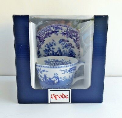 SPODE Italian Girl At Well Blue Tea Cup & Saucer New Retired Stock In Box