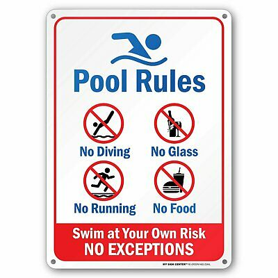 "Pool Rules - Swim At Your Own Risk Sign - 10""x14"" - .040 Rust Free Aluminum"