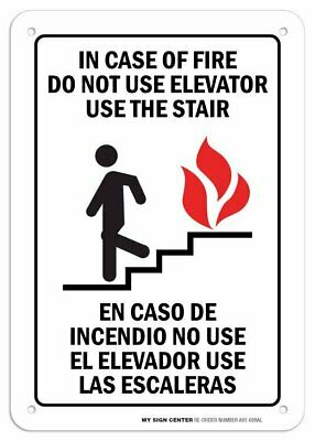 """In Case Of Fire Do not Use Elevator Sign- 10"""" X 7"""" - .040 Aluminum"""