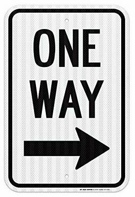 """One Way With Arrow Right Traffic Sign, 12""""x18"""" - .080 3M EGP Reflective Aluminum"""