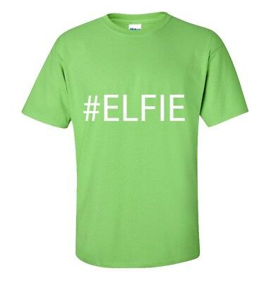 Elf- Selfie- Elfie Christmas T-Shirt - Funny - Adults & Kids Sizes -Lime Green