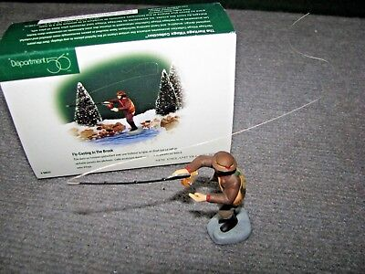 """Vintage Dept 56 Dickens Village """"Fly-Casting In The Brook"""" #5633 Christmas"""