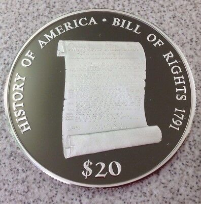 2000 $20 .999 Silver - 20 Grams Liberia $20 Bill of Rights proof Coin with COA