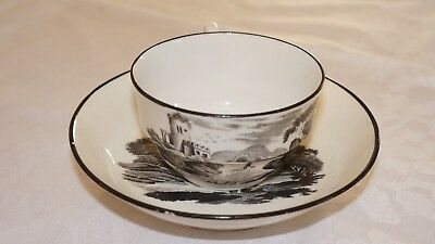 Antique 19Th Century Teacup And Saucer Black And White
