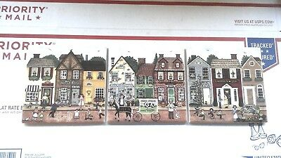 (3) Bergquist Imports Swedish Folk Art Ceramic Trivet Tiles (Village/Town Scene)