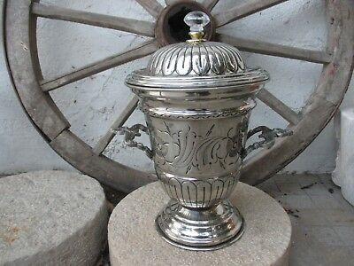Vintage Brass French Ornate Brass Chromed Large Beautiful Vase Pot Centerpiece