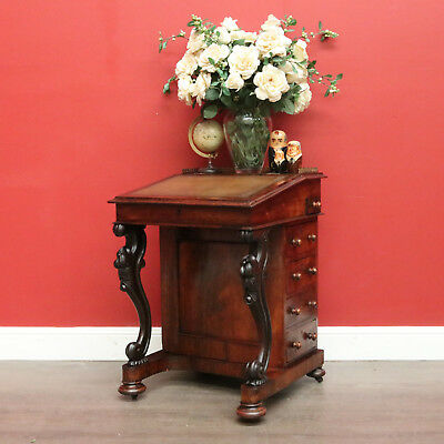 Antique English Rosewood and Leather Writing Desk Chest of Drawers Davenport
